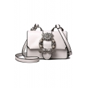Popular Fashion Solid Color Metal Rhinestone Pearl Embellishment PU Leather Square Crossbody Bag 19*9*13 CM