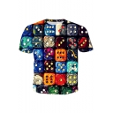 Cool Stylish Colorful Dice Painting Printed Round Neck Short Sleeve T-Shirt