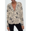 Womens Fashion Leopard Pattern Lapel Collar Long Sleeve Casual Loose Button Shirt