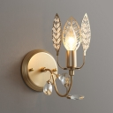 Classic Candle Sconce with Leaf & Crystal Bead 1 Head Metal Wall Light in Gold for Kitchen