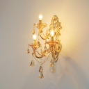 Luxurious Style Gold Wall Sconce Candle 3 Lights Metal Sconce Light with Crystal for Villa