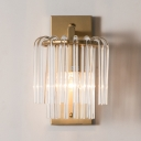 1 Light Clear Crystal Wall Light Simple Style Metal Sconce Light in Gold Finish for Bathroom