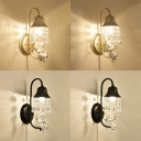 Living Room Bell Wall Lamp with Angel & Crystal Metal 1 Light Black/Gold Sconce Light
