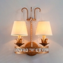 Vintage Style Antique Brass Wall Light Tapred Shade 2 Lights Metal Sconce Light for Restaurant