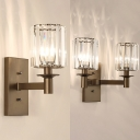 1/2 Lights Drum Wall Light Simple Striking Crystal Sconce Light in Oiled Rubbed Bronze for Living Room