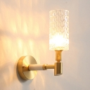 Striking Crystal Tube Wall Light 1 Light Classic Style Sconce Light in Gold for Kitchen Corridor