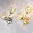 Metal Plant Shaped Sconce Light with Crystal Bead 2 Lights Modern Wall Light in Gold/Silver for Bedroom