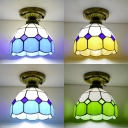 Art Glass Lattice Domed Ceiling Lamp Dining Room 1 Light Vintage Tiffany Flush Mount Light