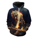 Stylish 3D Fire Tiger Printed Long Sleeve Casual Pullover Hoodie