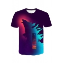 New Popular King of the Monsters 3D Printed Short Sleeve Purple T-Shirt