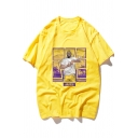 Popular Basketball Player Figure Print Summer Cotton Loose T-Shirt