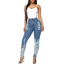 Womens High Waist Bleached Blue Destroyed Ripped Skinny Fit Denim Jeans