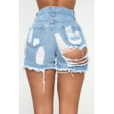 Summer Womens Sexy High Rise Destroyed Ripped Hot Pants Denim Shorts