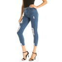 Womens Dark Blue Washed Distressed Ripped Cropped Slim Fit Jeans