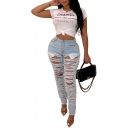 Womens Fashion Sexy High Rise Exposed Pocket Ripped Hole Skinny Fit Jeans