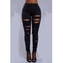 Women's New Stylish Fashion Distressed Ripped Hole Super Skinny Fit Jeans