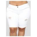 Womens Trendy Plus Size Destroyed Ripped Skinny Half Denim Shorts