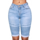 New Stylish High Rise Rolled Cuff Stretch Fit Skinny Pleated Motor Half Denim Shorts