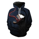New Stylish Cool 3D Printed Long Sleeve Blue Casual Loose Pullover Hoodie