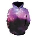 Fancy Purple Galaxy Pattern Long Sleeve Sport Loose Pullover Drawstring Hoodie