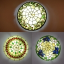 Corridor Bead/Flower/Leaf Ceiling Light Stained Glass Tiffany Rustic Flush Mount Light