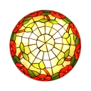 Tiffany Rustic Rose Ceiling Mount Light Stained Glass Ceiling Light for Study Room