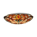 Tiffany Victorian Domed Flush Mount Light Stained Glass Flush Ceiling Light in Beige for Bedroom