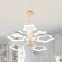 Simple Style Star Chandelier 6 Heads Acrylic Pendant Light in White for Living Room Bedroom