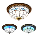 Grid Bowl Balcony Ceiling Fixture Art Glass Three Bulbs Tiffany Traditional Flushmount Light