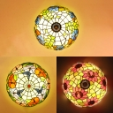 Balcony Butterfly/Leaf/Sunflower Ceiling Fixture Stained Glass 16 Inch Flush Mount Light