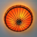 Antique Style Orange Ceiling Light Conical Shade Art Glass Flush Mount Light for Dining Table