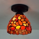 1 Light Bowl Ceiling Mount Light Traditional Agate Flush Light in Red for Cloth Shop Porch