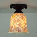 Glass Bell Shade Ceiling Light Bathroom Bedroom 1 Head Mosaic Flushmount Light in Beige