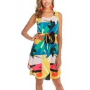 Summer Holiday Tropical Printed Round Neck Sleeveless Drawstring Waist Midi A-Line Tank Dress
