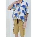 Summer Guys Holidayトロピカルフローラルプリント半袖カジュアルルーズビーチハワイアンシャツ
