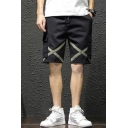 Cool Fashion Contrast Cross Stripe Patched Flap Pocket Drawstring Waist Casual Cargo Shorts