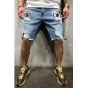Cool Fashion Destroyed Ripped Detail Graphic Embroidery Patched Slim Fit Denim Shorts