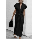 Womens Fashion Chic Simple Plain V-Neck Short Sleeve Tied Waist Maxi Casual Kimono Dress