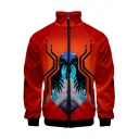 Popular Figure Spider 3D Printed Stand Collar Long Sleeve Zip Up Orange Red Jacket