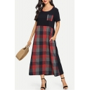 Womens Fashion Black Plaid Patched Round Neck Short Sleeve Maxi Linen Swing Dress