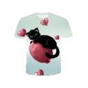 Funny Cute Heart Cat Printed Light Green Short Sleeve Tee