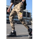 Street Style Men's Fashion Camouflage Letter Printed Zipped Pocket Elastic Cuff Cotton Cargo Pants