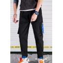 Men's New Fashion Colorblock Flap Pocket Side Drawstring Waist Cotton Casual Cargo Pants
