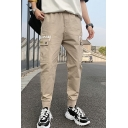 Men's New Fashion Letter Printed Double Flap Pocket Side Cotton Cargo Pants