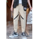 Men's Popular Fashion Tape Patched Flap Pocket Simple Plain Cotton Cargo Pants