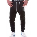 Popular Letter Star Print Zipped Pocket Drawstring Waist Guys Casual Sports Joggers Sweatpants