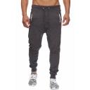 Men's New Fashion Drawstring Waist Simple Plain Casual Sports Sweatpants