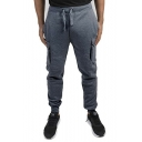 Simple Fashion Plain Large Flap Pocket Side Drawstring Waist Lounge Pants Cargo Pants for Men