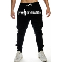 Hot Fashion Letter GYM Graphic Printed Drawstring Waist Black Casual Cotton Joggers Pencil Pants