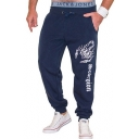 New Fashion Letter Scorpion Printed Drawstring Waist Men's Casual Loose Sweatpants